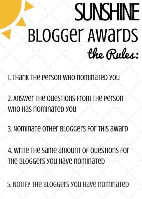 Sunshine blogger awards rule